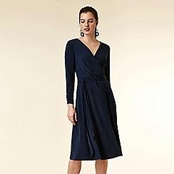 Wallis - Navy wrap midi dress