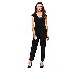 Wallis - Black crepe belted jumpsuit