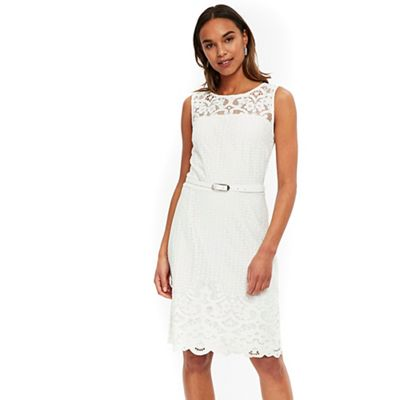 Wallis   Ivory Belted Lace Fit And Flare Dress by Wallis