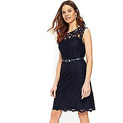 Wallis - Navy belted lace fit and flare dress