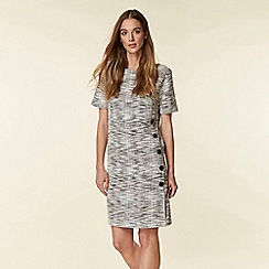 Wallis - Grey Textured Button Side Jacquard Shift Dress