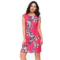 Wallis - Pink tropical fern ruched side dress