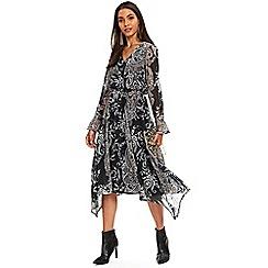 Wallis - Black paisley print midi fit and flare dress