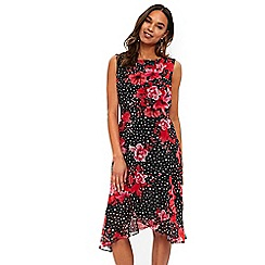 Wallis - Black floral print skater dress