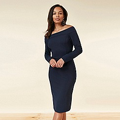 Wallis - Navy Fitted Bardot Dress