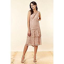Wallis - Blush Lace Tiered Dress