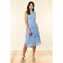 Wallis - Blue Lace Tiered Dress