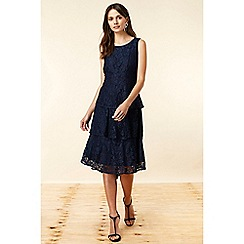 Wallis - Navy Lace Tiered Dress