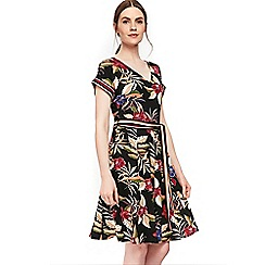 Wallis - Black floral print fit and flare dress