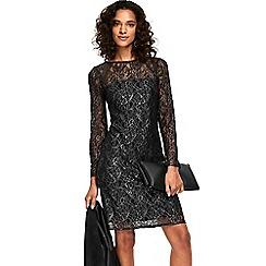 Wallis - Black metallic lace shift dress