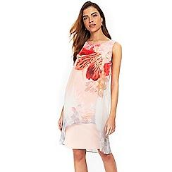 Wallis - Pale pink floral print chiffon overlay dress