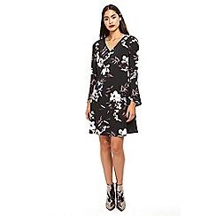 Wallis - Black floral print swing dress