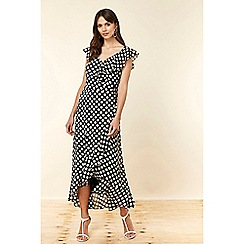 Wallis - Black Spot Ruffle Dress