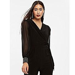 Wallis - Black hotfix cuff jumpsuit