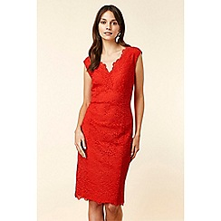 Wallis - Red Scallop V Neck Lace Shift Dress