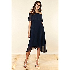 Wallis - Navy Embellished Bardot Dress