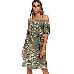 Wallis - Khaki paisley printed Bardot dress