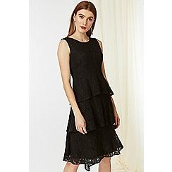 Wallis - Black floral lace tiered dress