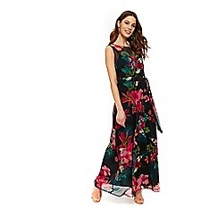 Wallis - Black floral print belted maxi dress