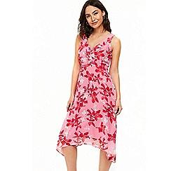 Wallis - Pink petal ruffle hanky hem dress