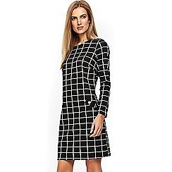 Wallis - Black check jacquard dress