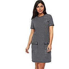 Wallis - Navy mini check jacquard dress