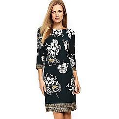 Wallis - Forest green floral shift dress