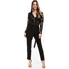 Wallis - Black mesh sequin jumpsuit