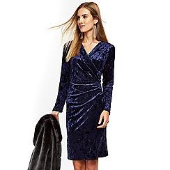 Wallis - Navy velvet wrap dress