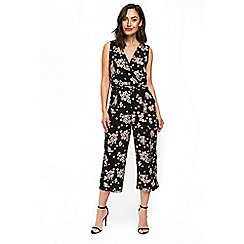 Wallis - Black daisy coulotte jumpsuit