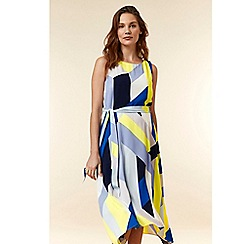 Wallis - Blue colour block fit and flare dress