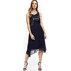 Wallis - Navy embellished asymmetric dress