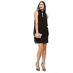 Wallis - Black embellished neck tiered dress