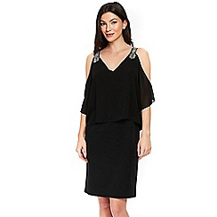 Wallis - Black chiffon embellished overlay dress
