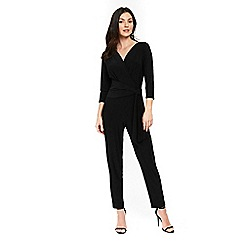 Wallis - Black wrap side tie jumpsuit