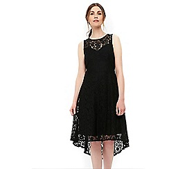Wallis - Black high low lace fit and flare dress