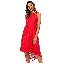 Wallis - Red lace fit and flare dress