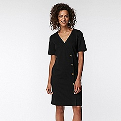 Wallis - Black v-neck button shift dress