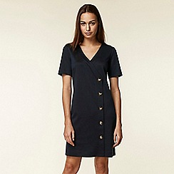 Wallis - Navy v-neck button shift dress