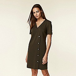 Wallis - Olive v-neck button shift dress