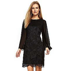 Wallis - Black lace cape sleeve dress
