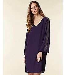 Wallis - Purple embellished sleeve shift dress