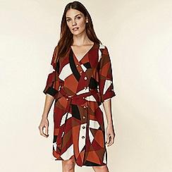 Wallis - Rust colour block shirt dress