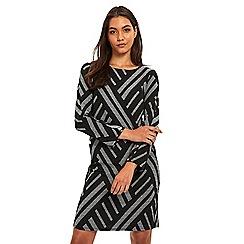 Wallis - Black geo jacquard dress