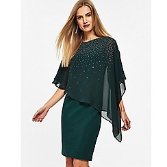Wallis - Forest green embellished overlay dress