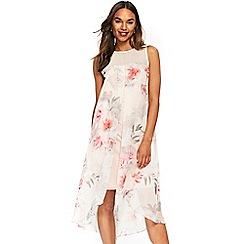 Wallis - Blush floral split front overlay dress
