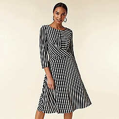 Wallis - Black stripe knot midi dress