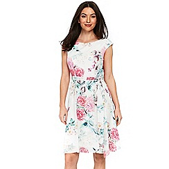 Wallis - Ivory floral print fit and flare dress