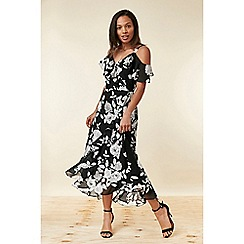 Wallis - Black Floral Ruffle Dress