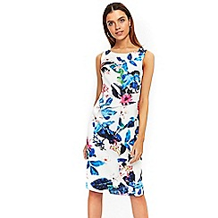 Wallis - Ivory tropical ruffle shift dress